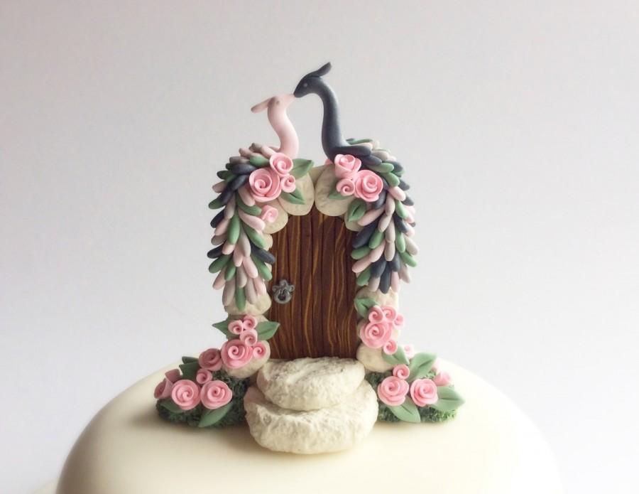 زفاف - Peacock wedding cake topper in slate grey, blush pink and sage green colours handmade from polymer clay