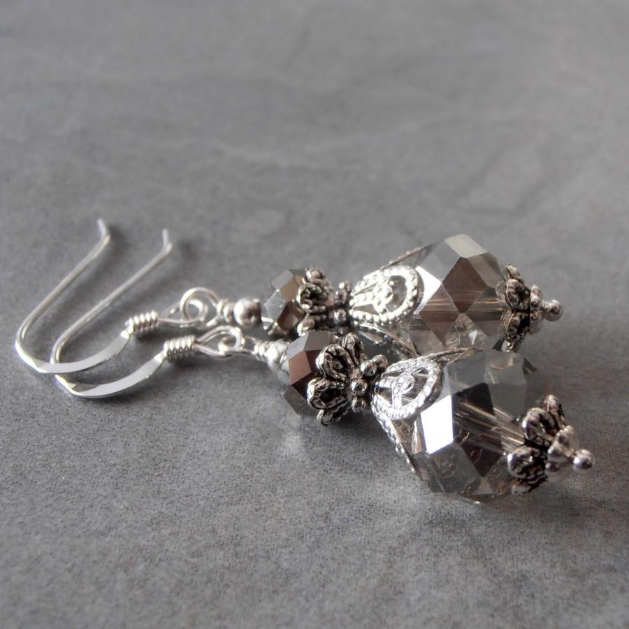 Mariage - Gray Crystal Bridal Jewelry Bridesmaid Earrings Beaded Dangles Grey Wedding Jewelry Bridesmaid Jewelry Gift Silver Crystal Earrings Smoke