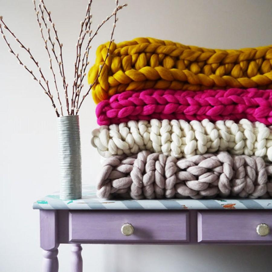 Wedding - Chunky knit blanket customise colour, stitch and size - giant knit blanket - super chunky merino wool knitted throw - extreme knit throw