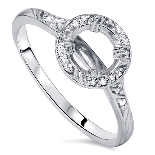 Mariage - Vintage Diamond Engagement Ring Semi Mount Setting 14 KT White Gold Round Cut Halo Fits 5.5-6.5MM Round