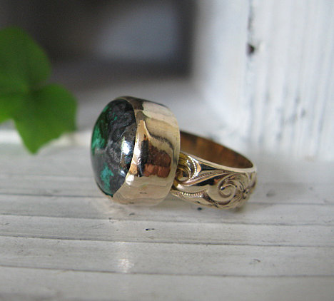 Mariage - Rare Connellite Ring 14K Gold Turquoise Unique Engagement Ring Cabochon Ring Gemstone Ring Statement Ring Heavy Gold Ring Anniversary Gift