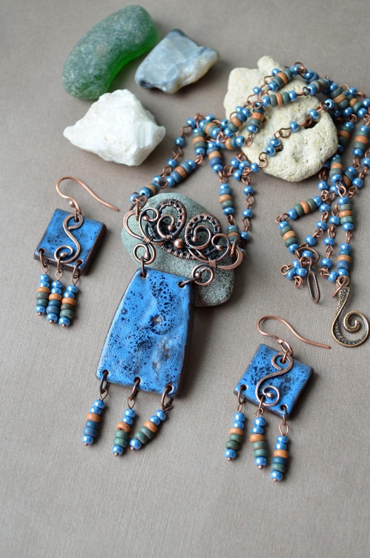 Sea Blue Ceramic Necklace, Gypsy Jewelry, Bohemian Jewelry Set, Wire ...