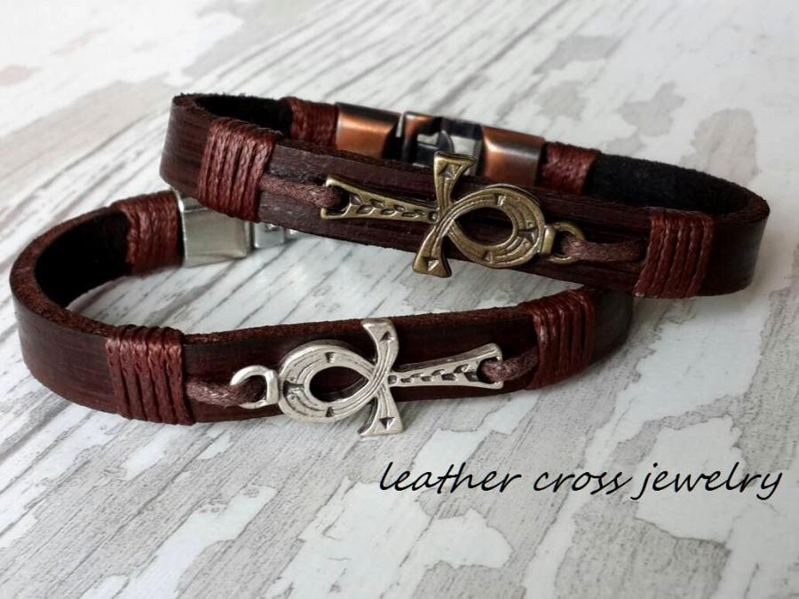 Wedding - Ankh Bracelet ,Woman Cross Leather Bracelet , Handmade Leather Bracelet , Chrismas Gift ,Woman Bracelet ,