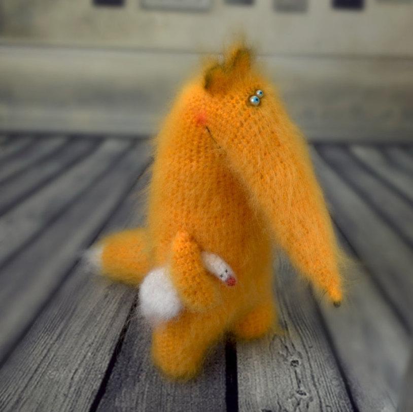 Wedding - Fox with goose stuffed toys cute fox Amigurumi Animal foxes crochet plush fox Stuffed wool fox doll crochet Christmas decor toys yellow fox