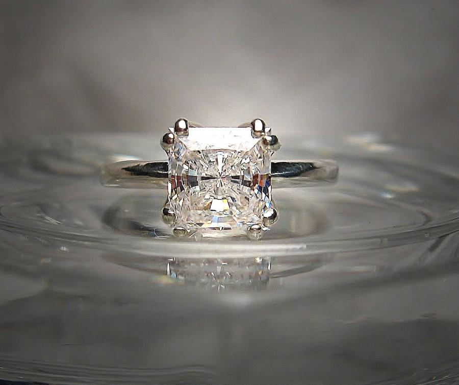 Mariage - Precision Cut Princess Slightly Warm White 6.5mm Cubic Zirconia Eight Prong Sterling Silver Ring Made to Order