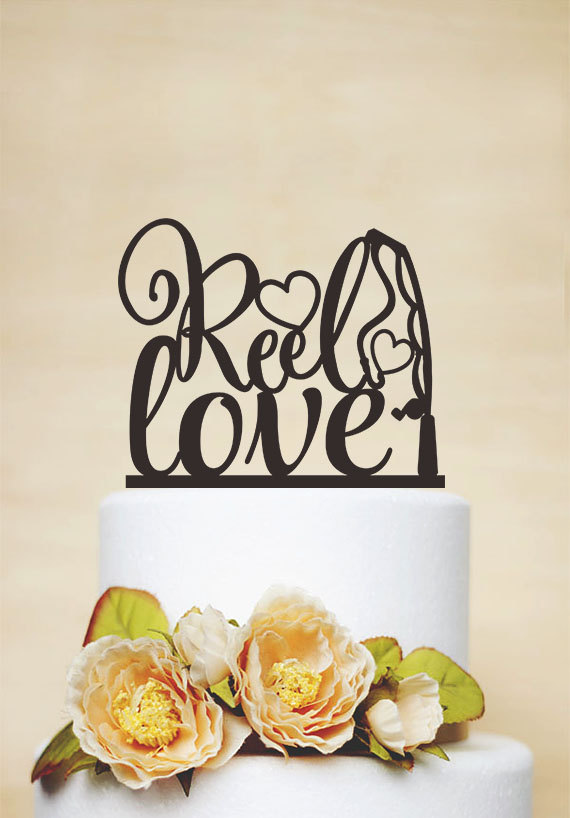 زفاف - Reel Love Cake Topper,Wedding Cake Topper,Engagement Cake Topper,Custom Cake Topper,Unique Cake Topper,Fishing Cake Topper P160