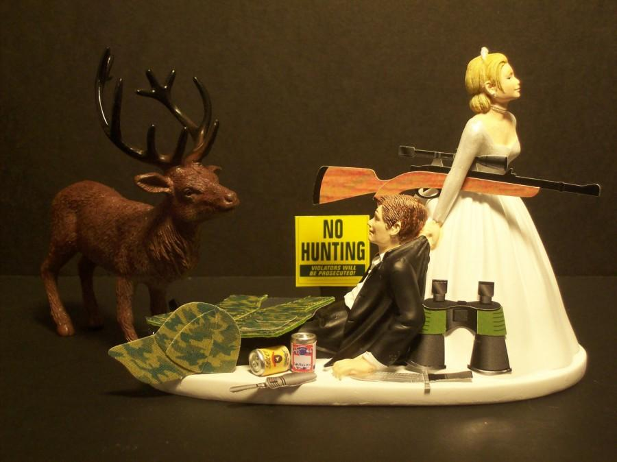 Свадьба - NO HUNTING DEER Bride and Groom Wedding Cake Topper Funny Sport