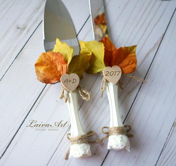 Mariage - Personalized Rustic Fall Wedding Cake Server Set Knife Rustic Outdoor Holidays Barnyard Fall Wedding