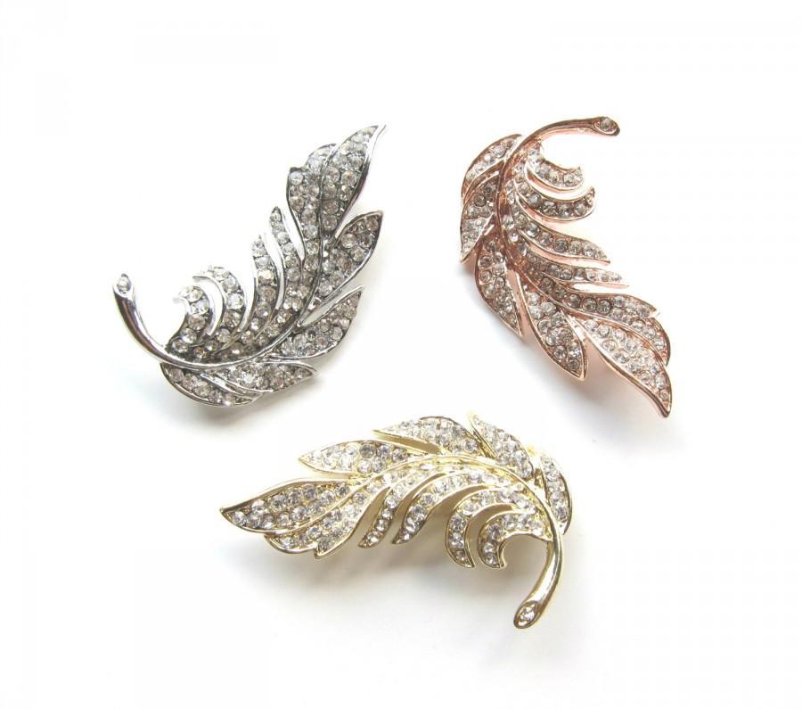 Свадьба - 5 Rhinestone Brooch Leaf Feather, Crystal Brooch, Leaf Brooch, Feather Brooch, Rose Gold, Gold, Leaf Haircomb, BRO-038 (60mm x 40mm)