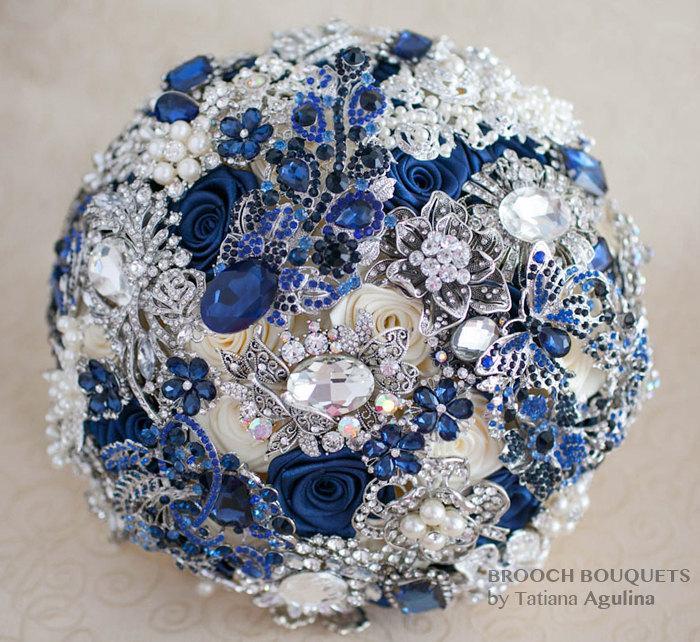 Свадьба - Brooch bouquet. Navy blue and Silver wedding brooch bouquet Quinceanera keepsake bouquet