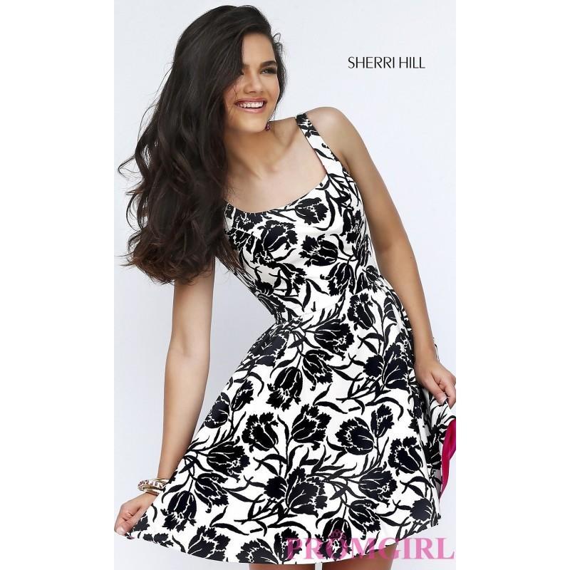 Свадьба - Sherri Hill Short Print Dress in Black and Ivory - Discount Evening Dresses