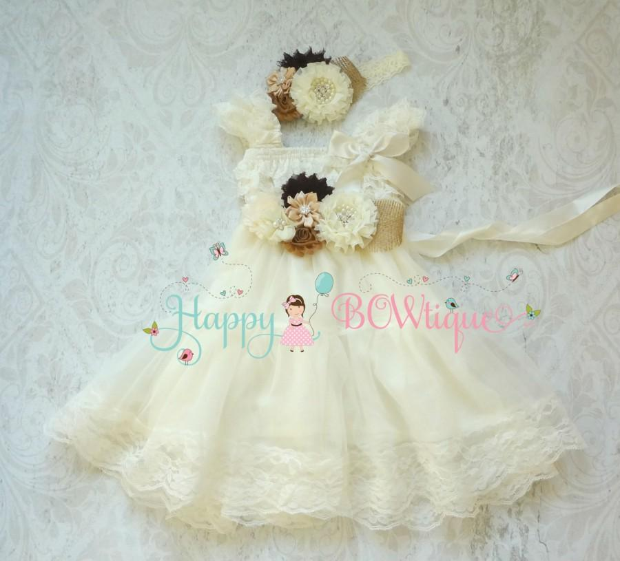 Mariage - Flower girls dress-  Burlap Ivory Chiffon Lace Dress set,Ivory lace Dress,baptism,rustic dress, Rustic flower girls lace dress,Girls Dress