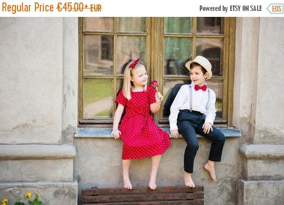 Mariage - SALE Polka dot girl dress - Red girl dress - Linen toddler girl dress - Baby girl summer dress - Flower girl dress - Back to school girl dre