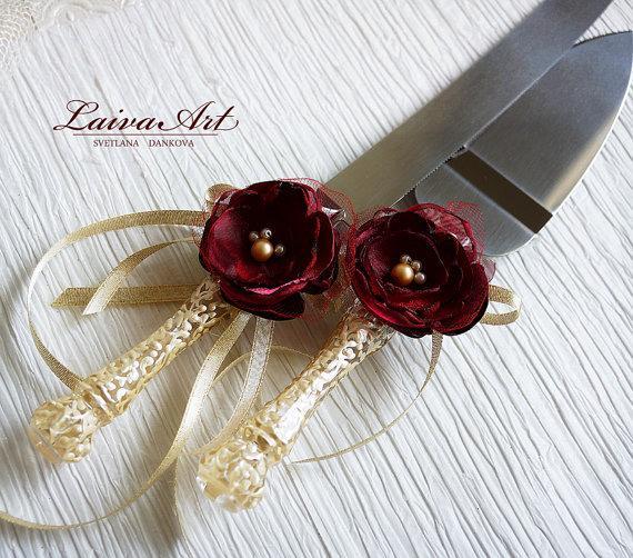 Wedding Cake Server Set Knife Ivory Burgundy Cutting Servers Cutter