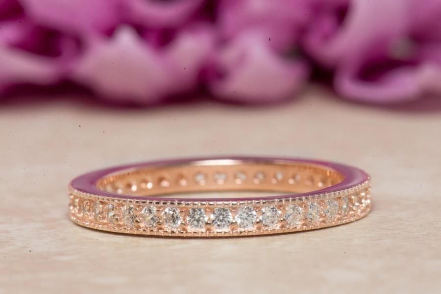 Mariage - Eternity Ring, Eternity Band, Wedding Band, Rose Gold Plated, Diamond Simulants, Sterling Silver Ring