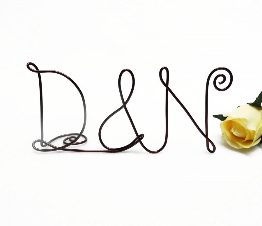 Свадьба - Wire Monogram Initials Cake Topper- Your Choice of Letters- Silver, Gold, Brown, Black, Red, Copper, Diamond Cut Silver