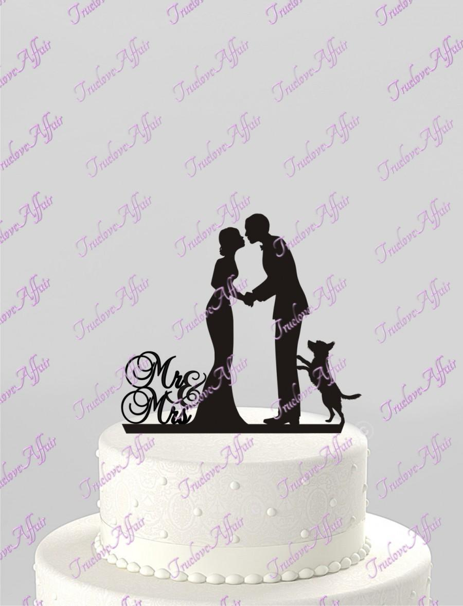 Свадьба - Wedding Cake Topper Silhouette Groom and Bride with Dog, Mr & Mrs Acrylic Cake Topper, [CT78p]
