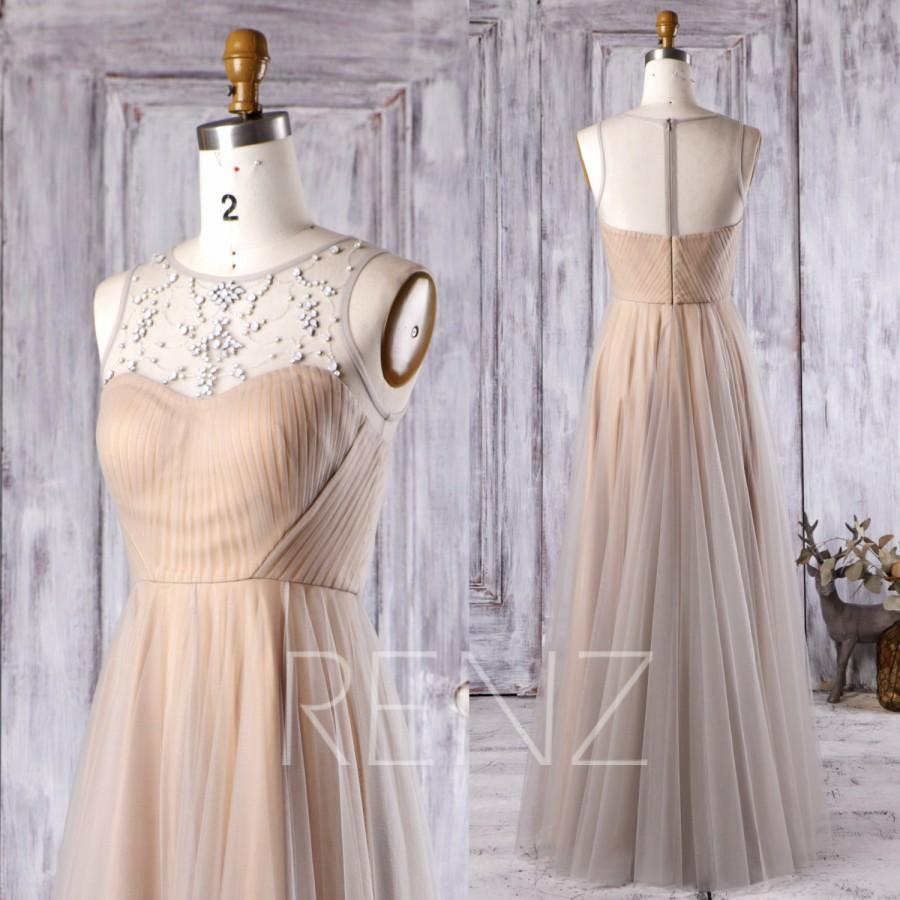 Düğün - 2016 Light Gray Mesh Bridesmaid Dress, Champagne Satin Wedding Dress, Beading Sweetheart Neckline Illusion Prom Dress Floor Length (HS268)