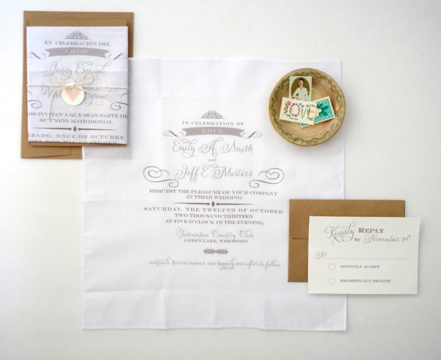 Wedding - Printed Handkerchief Wedding Invitations Set of 25- The Lovely Collection.  Printed Handkerchief Wedding invitations
