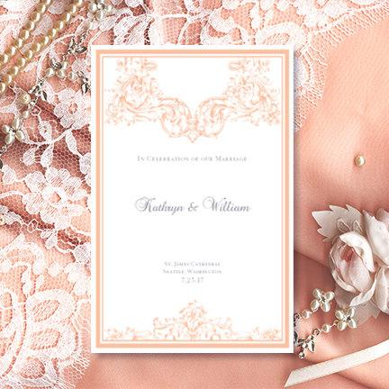 "Wedding - Printable Wedding Program Template ""Vienna"" Peach 8.5 x 11 Foldover Order of Service Program Edit Word.doc Instant Download DIY Print"