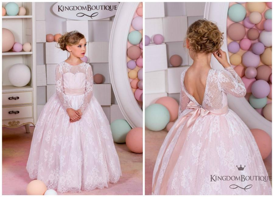 e65605437f Blush Lace Tulle Flower Girl Dress - Wedding party Holiday Bridesmaid  Birthday Blush Flower Girl Long SleevesTulle Lace Dress 15-035