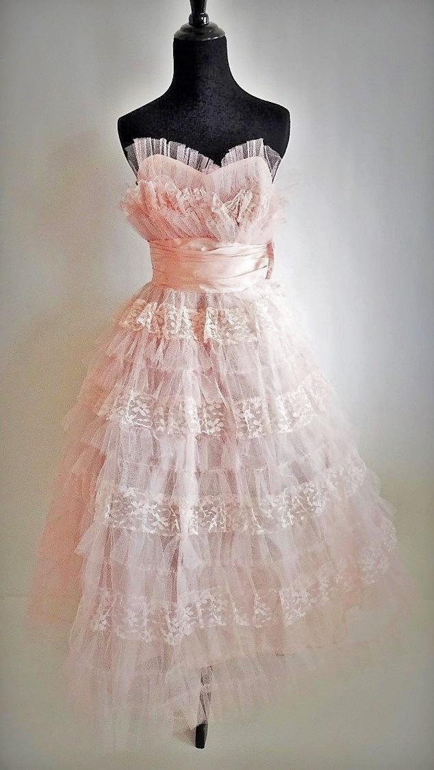 Wedding - SALE!  Dress #337 ~ Amazing 1950's (circa 1955-57) Perfectly Pink Strapless Layered Tulle & Lace Prom Dress w/Satin Cummerbund!  Whoa!