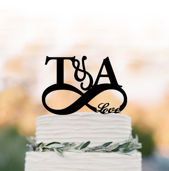 Hochzeit - initial Wedding Cake topper with with infinity Funny wedding Cake Topper, personalized wedding cake topper with love, unique cake topper