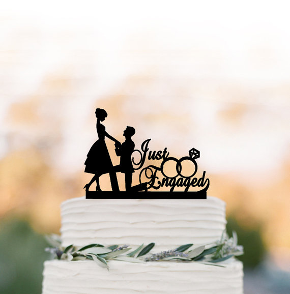 Hochzeit - Just Engaged Wedding Cake topper funny, bride and groom cake topper with wedding rings, unique custom cake topper for wedding