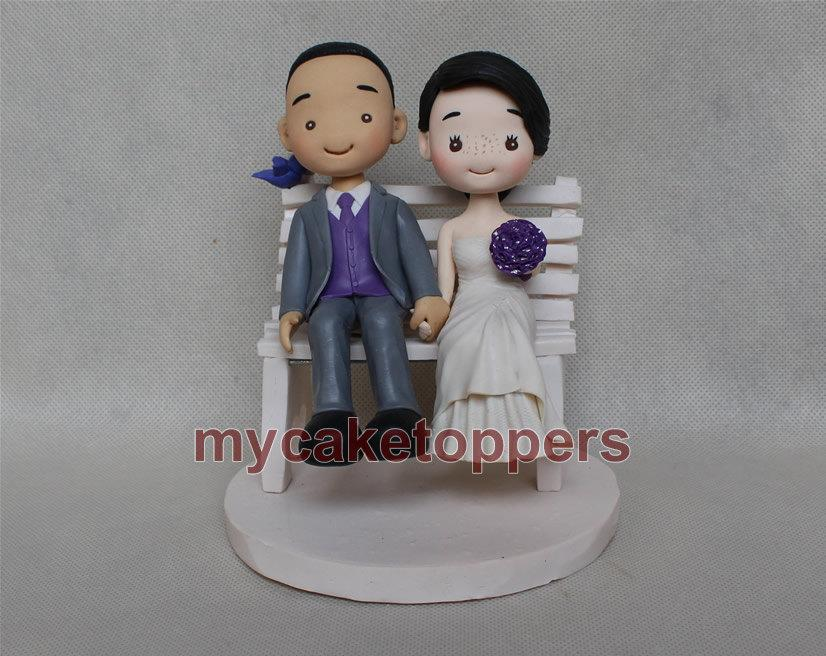 Hochzeit - Lovely wedding cake topper, funny wedding cake topper,Cartoon custom cake topper,lovely cake toppers,occasion cake topper,cute cake topper