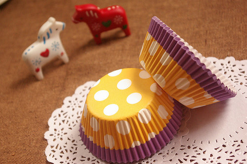 Hochzeit - Yellow and Purple White Polka Dot Cupcake Liners (50)