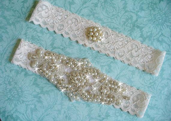 Mariage - Elegant Rhinestone and Lace Wedding Garter Set, Wedding Garter Belts Etsy, Lace Bridal Garter, Wedding Accessories, Rhinestone Pearl Garter