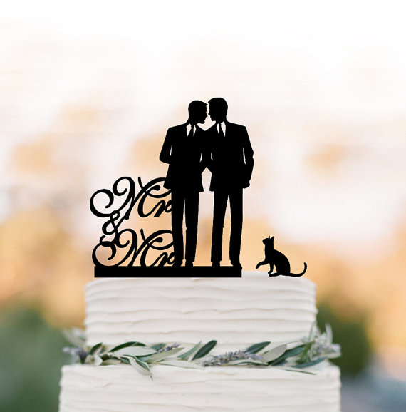 Hochzeit - Gay Wedding Cake topper with cat, Cake Toppers with mr and mr, gay silhouette, cake topper for wedding, same sex cake topper