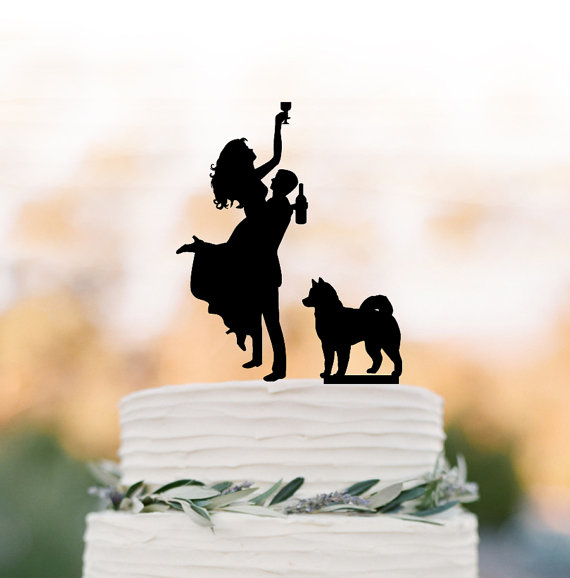 Hochzeit - Drunk Bride Wedding Cake topper dog, Cake Toppers with custom dog bride and groom silhouette, funny wedding cake toppers customized dog