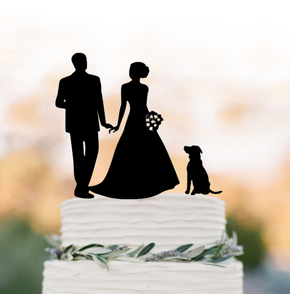 Wedding - Wedding Cake topper silhouette, family Cake Topper with bride and groom , funny wedding cake topper with dog, anniversary cake topper