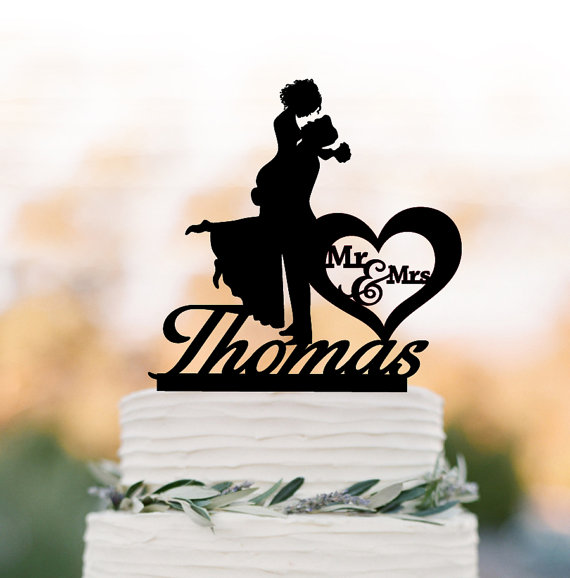 wedding cake topper personalized monogram cake topper mr and mrs bride and groom silhouette funny wedding cake topper customized letter