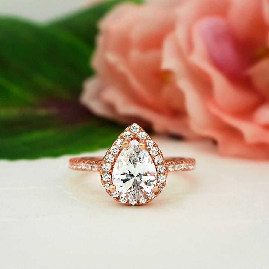 Mariage - 1.5 ctw Classic Pear Engagement Ring, Man Made Diamond Simulants, Halo Wedding Ring, Promise Ring, Sterling Silver, Rose Gold Plated