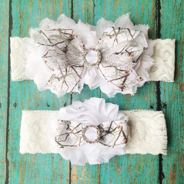 Свадьба - White Camo Wedding Garters
