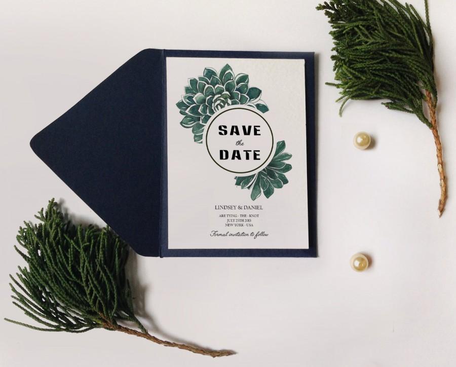 Wedding - Botanic succulent Save the date, Watercolor Succulent Wedding Invitation Printable, DIY Succulent Invitation, Succulent save the date