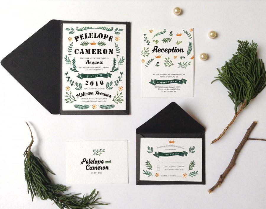 زفاف - Botanic leaves Wedding Invitations Printable, garden wedding invitation, woodland wedding, kraft paper wedding, vintage rustic invitation