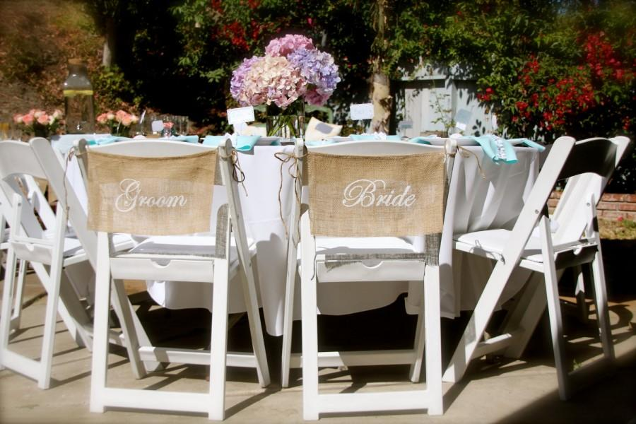 Burlap Wedding Chair Signs