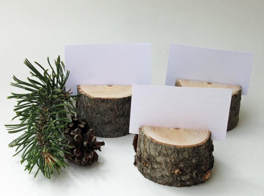 12 Reclaimed Pine Place Card Holders Wood Table Number Branch Rustic Wedding Name