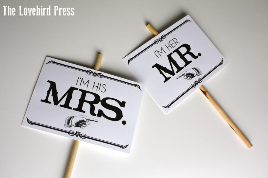 Mariage - Printable Wedding Photo Prop - Mr. Mrs. - Printable Wedding Sign - Instant Download - PDF - DIY - AA2