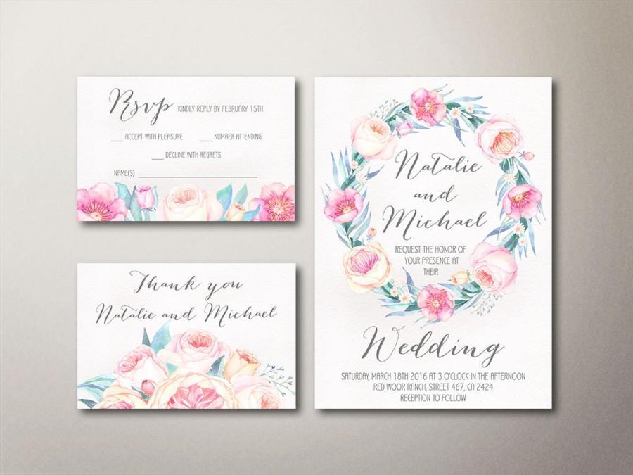 Hochzeit - Floral Wedding Invitation Printable, Boho Wedding Invitation, Peony Wedding Invite, Printable Wedding Invite, Spring Wedding Invitation set