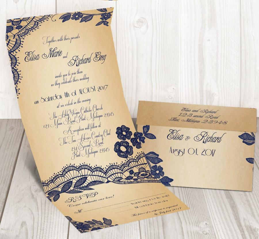 Свадьба - Elegant Lace seal and send wedding invitation card - Cheap wedding invitation {Bellevue design}