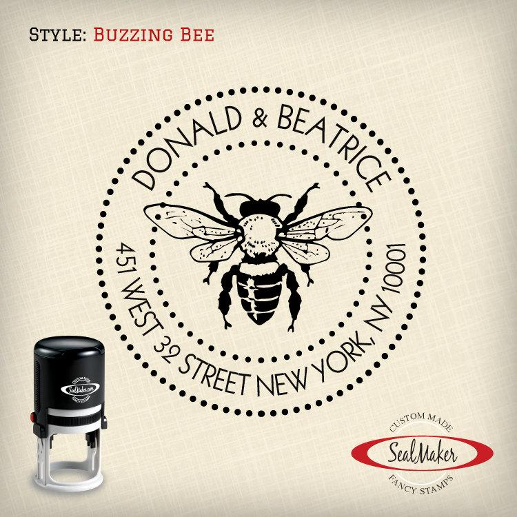 "Hochzeit - Custom Self-Inking Address Stamp - ""Buzzing Bee"""