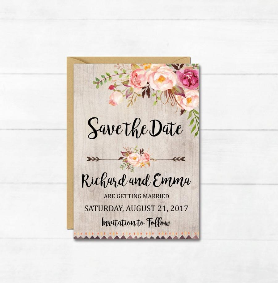 boho floral save the date card printable floral boho save the date