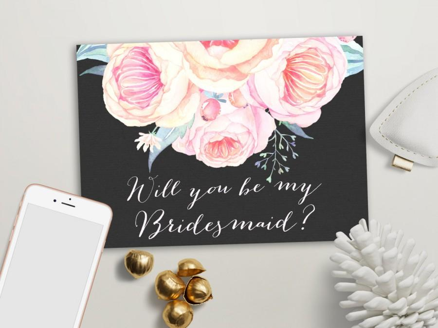 Mariage - Will you be my Bridesmaid card Printable, Maid of Honor & Matron of Honor card, Floral Bridesmaid Cards, Printable Bridesmaid Invite