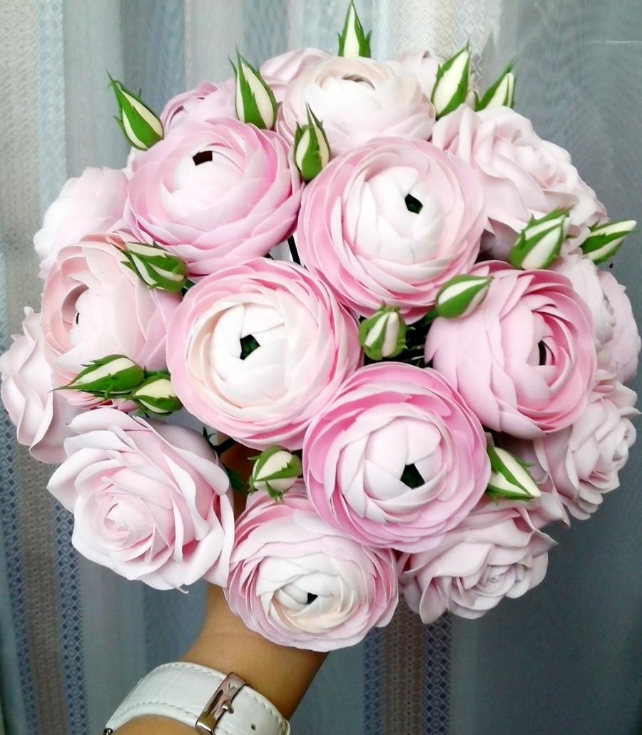 Свадьба - Peachy ranunculus bouquet, sweet pink ranunculus bouquet, wedding bouquet. Clay bouquet