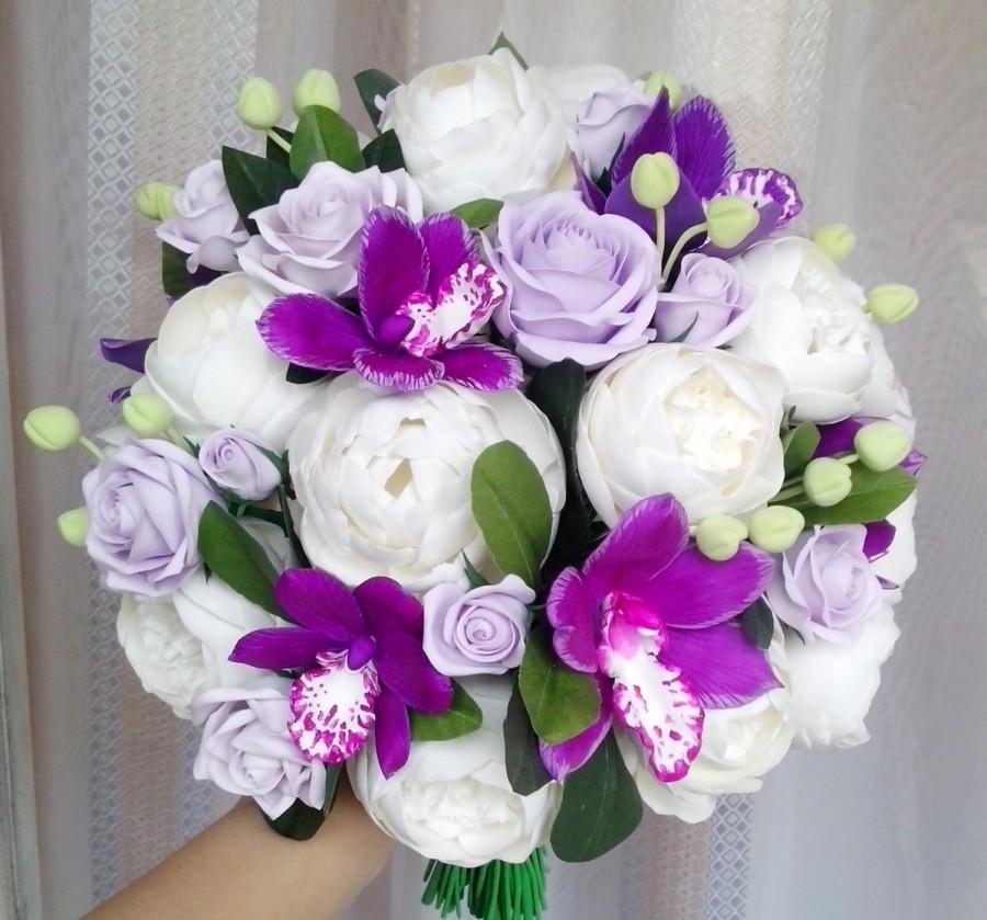 Hochzeit - Peony bouquet, cymbidium orchid bouquet, purple bouquet, ivory bouquet, bridal bouquet, clay bouquet