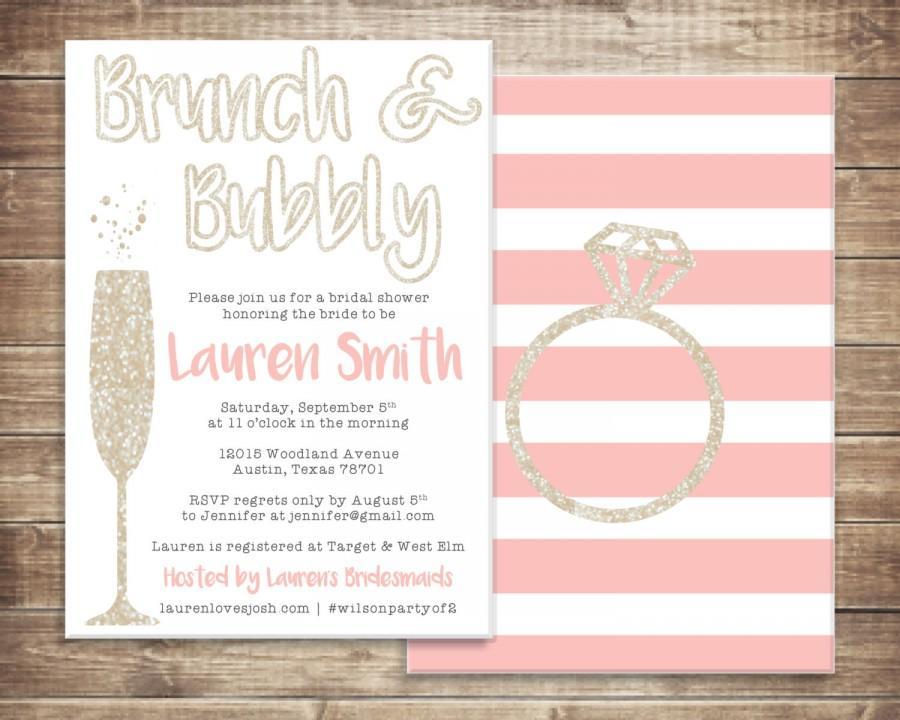 زفاف - Brunch and Bubbly Bridal Shower Invitation - Printable File
